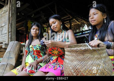Esilda young teenager Embera native community living by