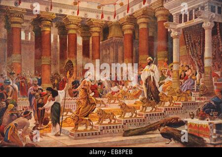 visit of queen of sheba to king solomon stock photo
