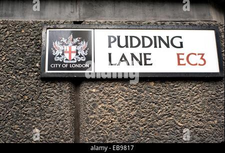 Pudding Lane street sign in London, England, UK - Stock Photo
