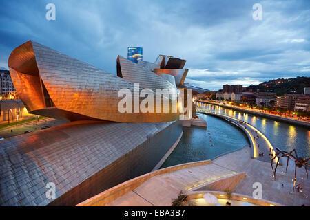 Guggenheim museum and Iberdrola tower. Bilbao. Bizkaia. Basque Country. Spain. - Stock Photo