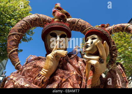 Venetian Carnival masks and costumes at the Venetian Fair on the historic market square, Ludwigsburg, Baden-Württemberg - Stock Photo