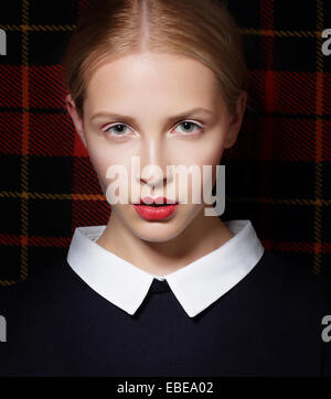 Stylish Charismatic Female with White Collar - Stock Photo