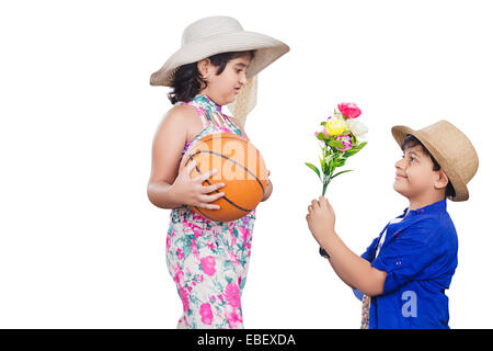 indian childern couple  Proposing - Stock Photo