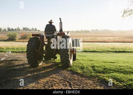 Rear view of senior male farmer driving tractor in field, Plattsburg, Missouri, USA - Stock Photo