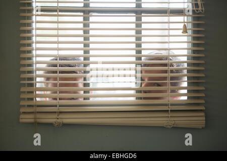 Two boys peering through window with venetian blind - Stock Photo