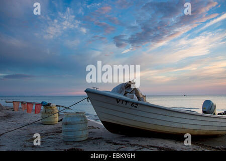 fishing boat at Baltic Sea in evening light, longtime exposure, Germany, Mecklenburg-Western Pomerania, Hiddensee, - Stock Photo