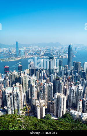 Hong Kong skyline view from the Victoria Peak. - Stock Photo