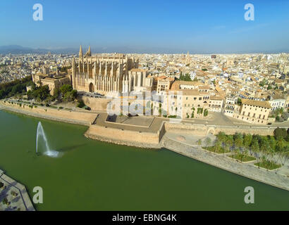 aerial view from Parc de la Mar to La Seu Cathedral, Royal Palace of La Almudaina and Episcopal Palace, Spain, Balearen, - Stock Photo