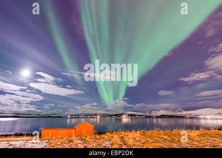 moon and aurora above Sandnessund, Norway, Troms, Tromsoe, Sandnessund - Stock Photo