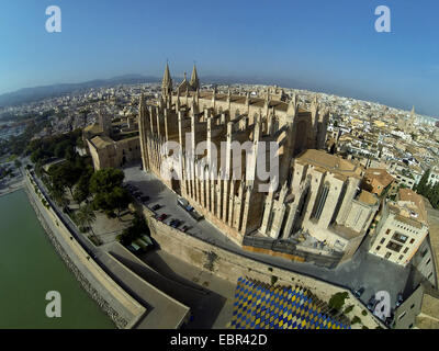 aerial view to La Seu Cathedral, Spain, Balearen, Majorca, Palma de Mallorca - Stock Photo