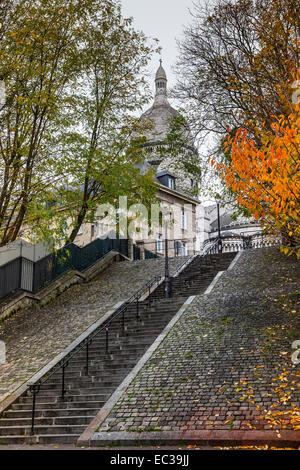 row steps sacre coeur montmartre paris france - Stock Photo