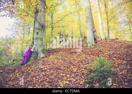 Two little girls playing hide and seek in the wood - Stock Photo