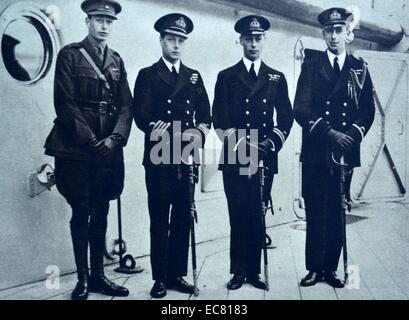 Prince Albert, Prince Henry, Lord Louis Mountbatten bidding the Prince of Wales farewell. - Stock Photo