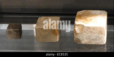 Set of stone weights from the Indus Valley civilization at Mohenjo Daro; Indian Sub-continent; 2500-2300 B.C. - Stock Photo