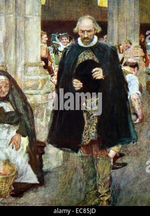 Painting of William Shakespeare (1564-1616) English poet, playwright and actor, walking through London. Dated 16th - Stock Photo