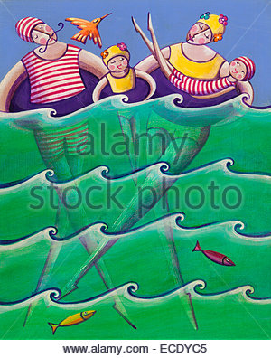 Parents and children swimming in rubber rings and old-fashioned bathing suits - Stock Photo