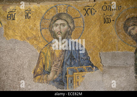 The mosaic of Jesus Christ in Hagia Sophia (Istanbul, Turkey). - Stock Photo