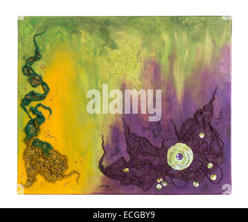 Violet, Green and Yellow Abstract Painting with Fabric, Beads and Sequins on Canvas - Stock Photo