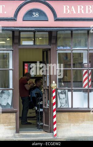 Barbers Barber Shop High Street Hythe Kent UK Stock Photo ...