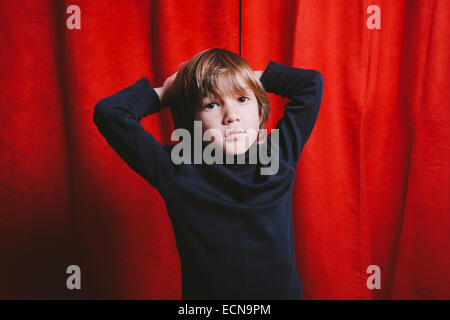 Studio portrait of a five year old boy - Stock Photo