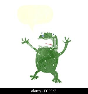 cartoon frightened frog with speech bubble - Stock Photo
