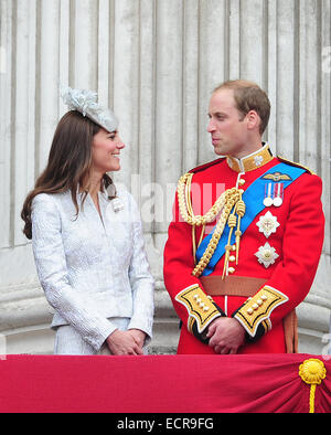 Members of the British Royal family are seen enjoying the Trooping of the Colour Celebrations on the balcony of - Stock Photo