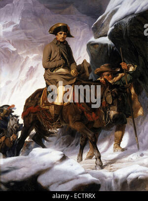 Napoleon Crossing the Alps, by Jacques-Louis David in 1805 - Stock Photo