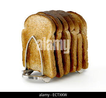 toast in toast rack - Stock Photo