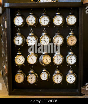 Collection of old watches in the Old Town City Hall museum, Prague, Czech Republic, Europe. - Stock Photo