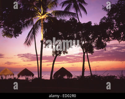 Beach sunset, Couples Negril Resort, Negril Beach, Negril, Westmoreland Parish, Jamaica, Greater Antilles, Caribbean - Stock Photo