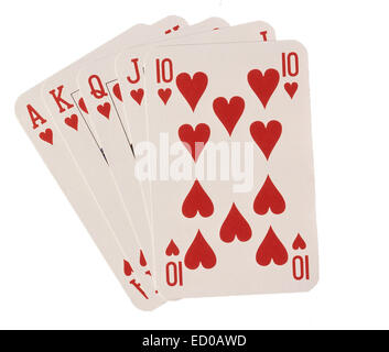 Selection of heart suite playing cards - Stockfoto