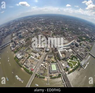 Aerial view of city and river Thames, London, England, UK - Stock Photo