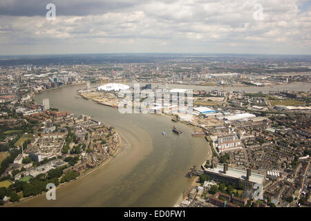 United Kingdom, London, Greenwich, Aerial view of O2 Arena and Greenwich Peninsula - Stock Photo