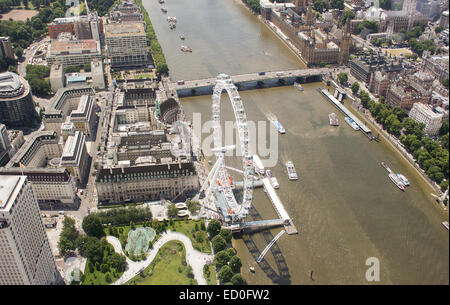United Kingdom, London, Aerial view of River Thames with London Eye and Westminster Bridge - Stock Photo