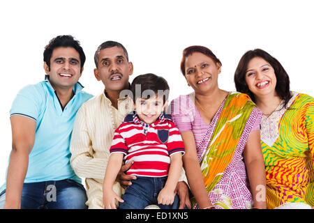 indian Joint Family group enjoy - Stock Photo
