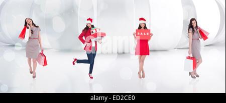 Composite image of different elegant brunettes - Stock Photo