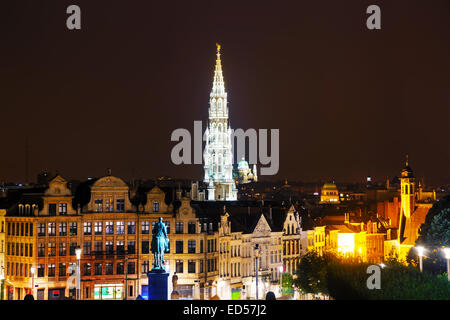 Overview of Brussels, Belgium in the evening - Stock Photo