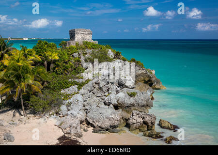 Ruins of the Mayan temple grounds at Tulum, Yucatan, Mexico - Stock Photo