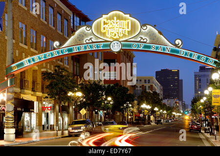 Historic Gaslamp Quarter, San Diego, California USA - Stock Photo