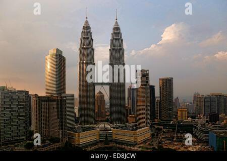 Petronas Towers in Kuala Lumpur, Malaysia - Stock Photo
