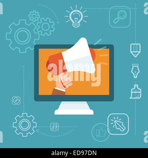 Digital marketing concept in flat style - hand holding megaphone - online advertising campaign development - Stock Photo