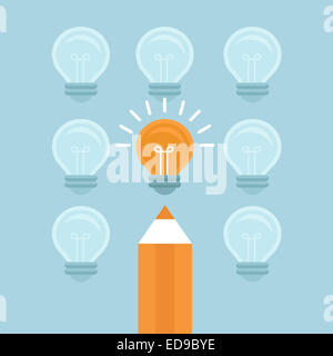 Marketing concept in flat style - stand out from the crowd - bright light bulb and pencil - Stock Photo