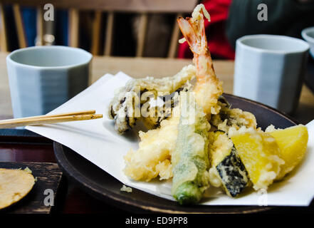 mixed hot tempura in a restaurant in tokyo - Stock Photo