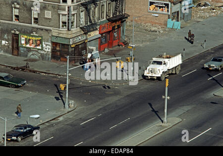 USA, HARLEM, NEW YORK CITY - APRIL 1978. 28th Precinct, Streets of Harlem, New York City. - Stock Photo