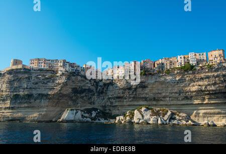 Old town on chalk cliffs, Bonifacio, Corsica, France - Stock Photo