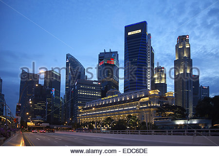 Fullerton Hotel and Maybank Tower. - Stock Photo
