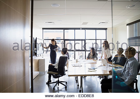 Group Looking At Conference Room Monitor