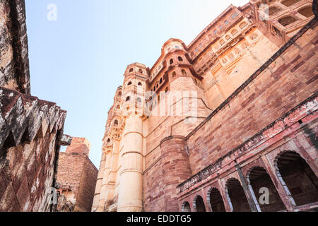 Mehrangarh Fort located in Jodhpur, Rajasthan State, India - Stock Photo