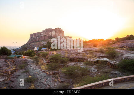 Sunset at Mehrangarh Fort in Jodhpur, Rajasthan State, India - Stock Photo