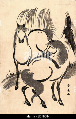 Ryuka no uma, Horses under a willow tree., Katsukawa, Shunsen, 1762-approximately 1830, artist, [between 1804 and - Stock Photo